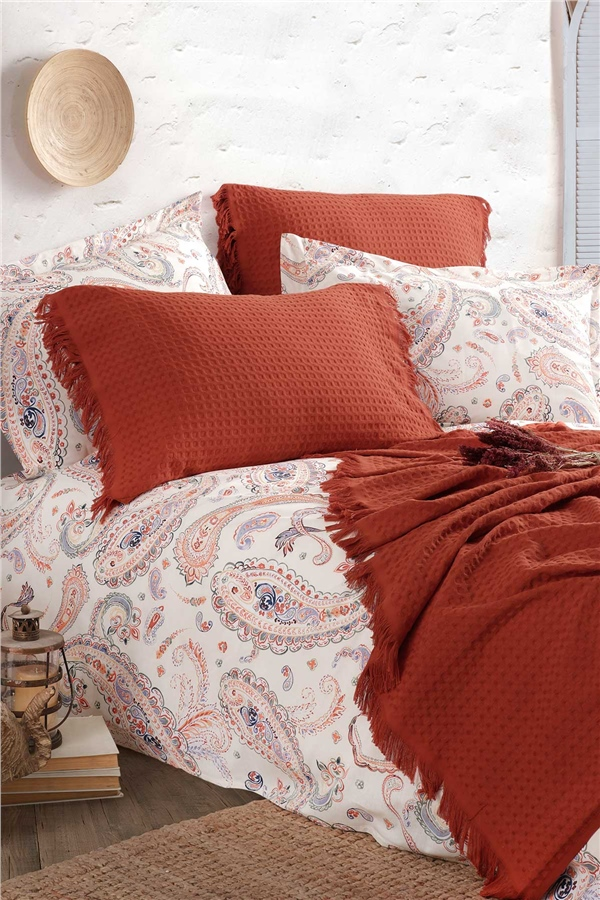 Boho Chic Double Size Pique Set - Cinnamon