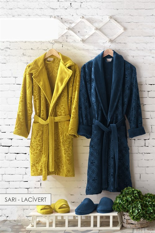 Mixed Jacquard Family Bathrobe Set - Yellow-Navy Blue
