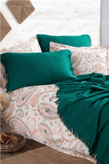 Boho Chic Double Size Pique Set - Emerald