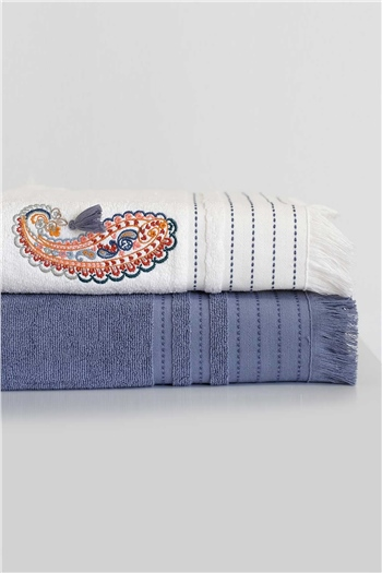 Boho Chic Towel Set 50x90 90x150 - Cobalt Blue