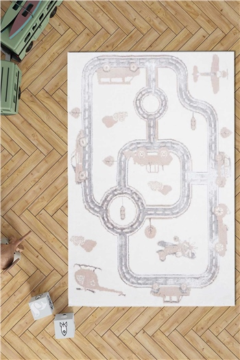 HCW Kids Carpet - Cars Beige 100x160 cm