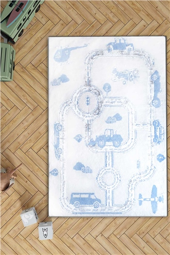 HCW Kids Carpet - Cars Blue 100x160 cm