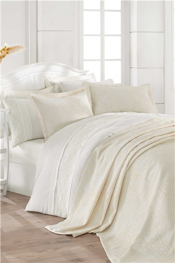 HCW Lotus Double Size Bed Cover Set Ecru