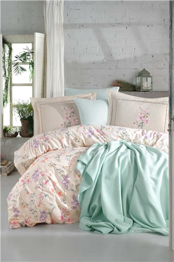 Jasmine Double Size Pique & Duvet Cover Set - Salmon