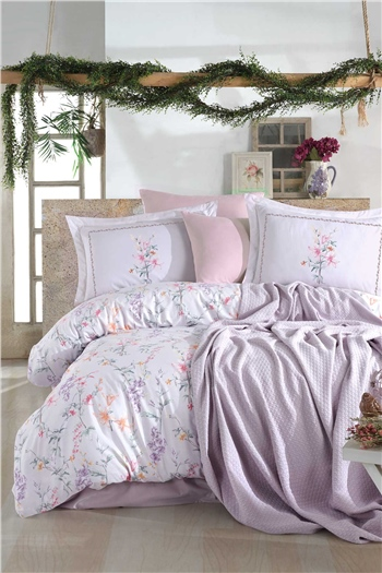 Jasmine Double Size Pique & Duvet Cover Set - Lilac