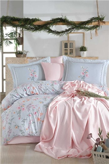 Jasmine Double Size Pique & Duvet Cover Set - Blue