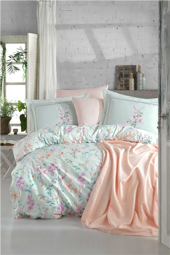 Jasmine Double Size Pique & Duvet Cover Set - Mint