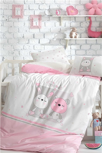 Ranforce Baby Blanket & Duvet Cover Set Friends Pink
