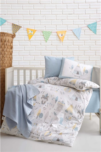 Ranforce Baby Blanket & Duvet Cover Set - Jungle Blue