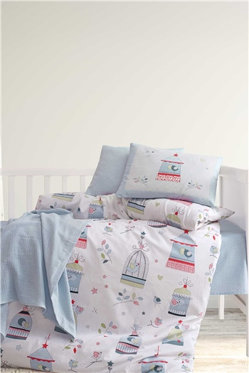 Ranforce Baby Blanket & Duvet Cover Set - Bird House Blue
