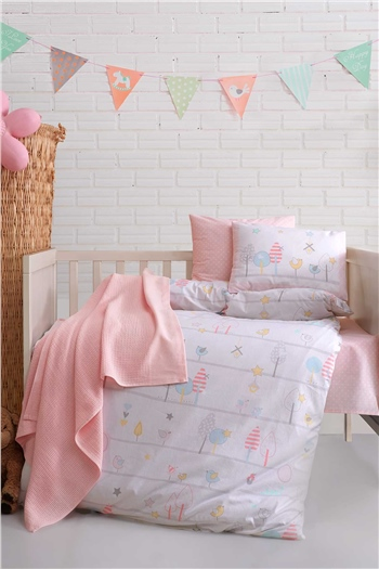 Ranforce Baby Blanket & Duvet Cover Set - Birdly Pink