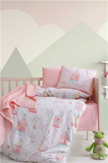Ranforce Baby Blanket & Duvet Cover Set - Bird House Salmon