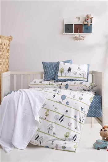 Ranforce Baby Blanket & Duvet Cover Set - Birdly Grey