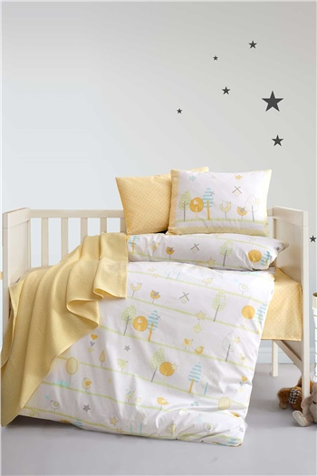 Ranforce Baby Duvet Cover Set Birdly Yellow