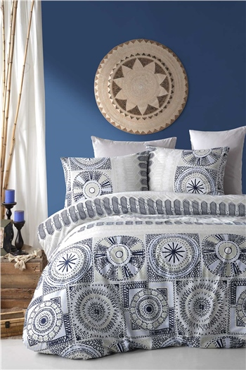 Ranforce Single Size Duvet Cover Set Holly Navy Blue