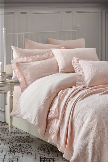 Rosaline Double Size Bed Cover Set Powder